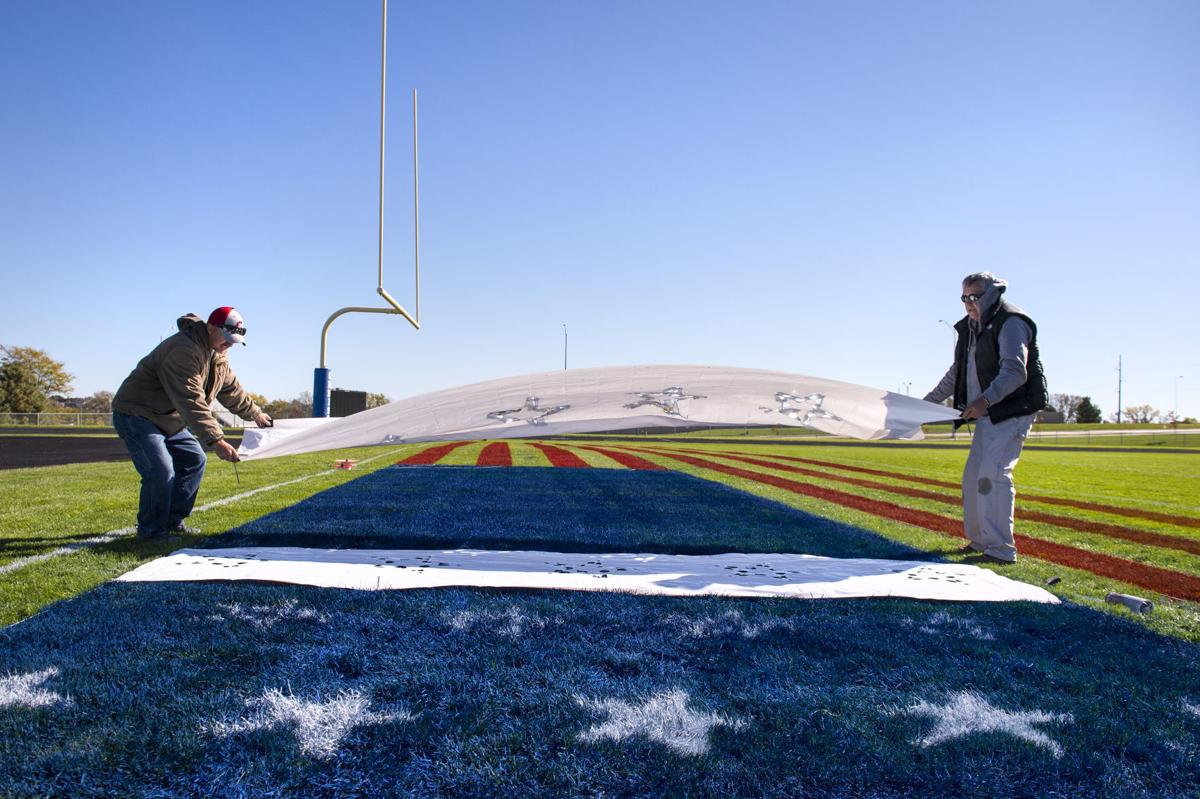 Painting End Zone American Flag